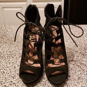 Black Laced Tie Stilettos